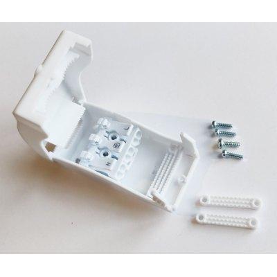 Image of   Hvid samleboks med quickconnector - 3-pol, aflastning i begge ender, IP20 indendørs