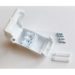 junction.Q.3p.white: Samleboks med quickconnector - 3-pol, aflastning i begge ender, hvid