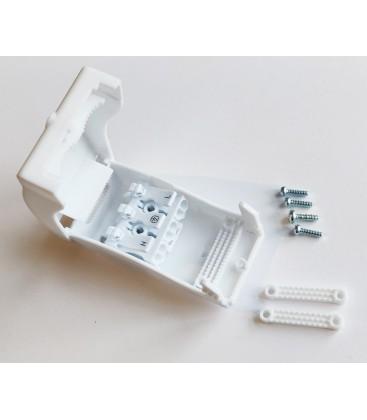 Samleboks med quickconnector - 3-pol, aflastning i begge ender, hvid