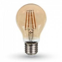V-Tac 4W LED pære - Samsung LED chip, kultråd, røget glas, ekstra varm, 2200K, A60, E27