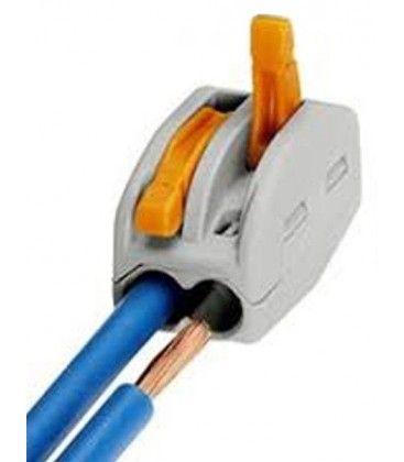 Skrueløs samlemuffe til 2 ledninger