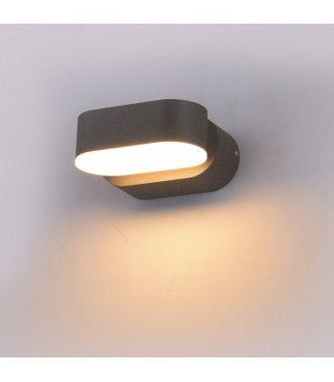V-Tac 6W grå væglampe - Oval, roterbar 350 grader, IP65, 230V