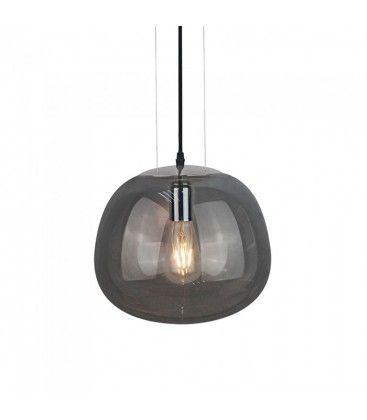 V-Tac stilfuld glas pendel lampe - Pistolgrå farvet, Ø30cm, E27