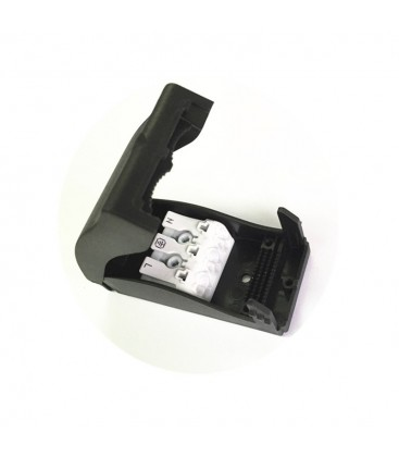 Samleboks med quickconnector - 3-pol, aflastning i begge ender, sort