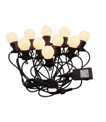 V-Tac LED lyskæde med 20 stk. 0,5W pærer - 10 meter, IP44, 230V