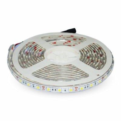 Image of   V-Tac 10,8W/m stænktæt LED strip - 5m, 60 LED pr. meter - Kulør : Kold