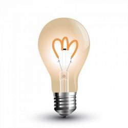 E27 Stor fatning V-Tac 3W LED pære - Kultråd, røget glas, ekstra varm hvid, 2200K, A60, E27