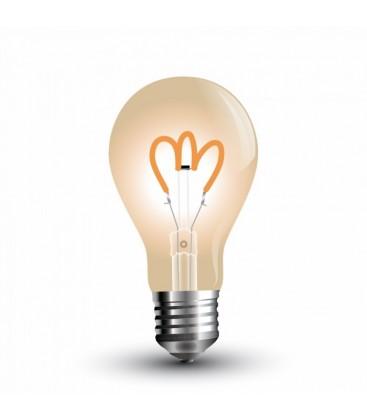 V-Tac 3W LED pære - Kultråd, røget glas, ekstra varm hvid, 2200K, A60, E27
