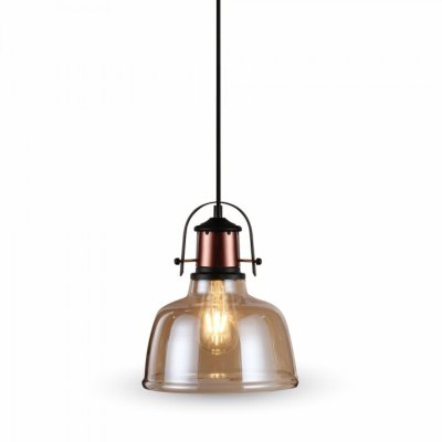 Image of   V-Tac Glas pendel lampe - Gyldent glas, vintage stil, stofledning, E27