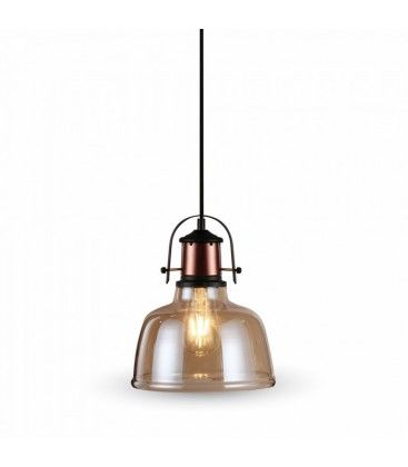V-Tac Glas pendel lampe - Gyldent glas, vintage stil, stofledning, E27