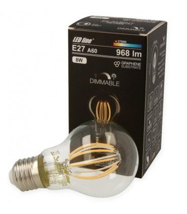 8W LED Pære - Kultråd LED, Dæmpbar, E27, A60D