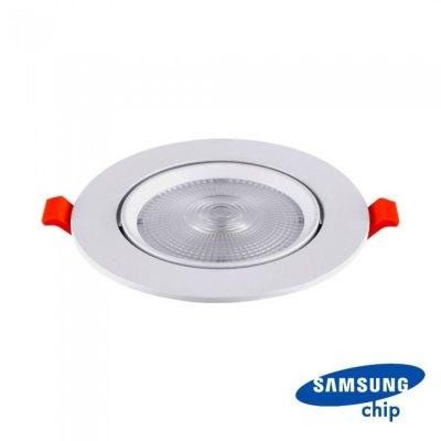 Image of   V-Tac 10W LED indbygningspot - Hul: Ø8 cm, Mål: Ø9,5 cm, 3 cm høj, Samsung LED chip, 230V - Kulør : Varm, Dæmpbar : Ikke dæmpbar