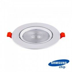 LED downlights V-Tac 10W LED indbygningspot - Hul: Ø8 cm, Mål: Ø9,5 cm, 3 cm høj, Kan kippes, Samsung chip, 230V