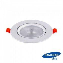 V-Tac 10W LED indbygningspot - Hul: Ø8 cm, Mål: Ø9,5 cm, 3 cm høj, Samsung LED chip, 230V