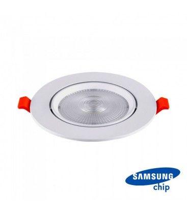 V-Tac 10W LED spotlight - Hul: Ø8 cm, Mål: Ø9,5 cm, 3 cm høj, Samsung LED chip, 230V