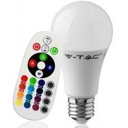 E27 Stor fatning V-Tac 9W RGB LED pære - Med RF fjernbetjening, E27