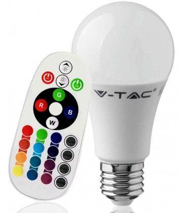 V-Tac 9W RGB LED pære - Med RF fjernbetjening, E27