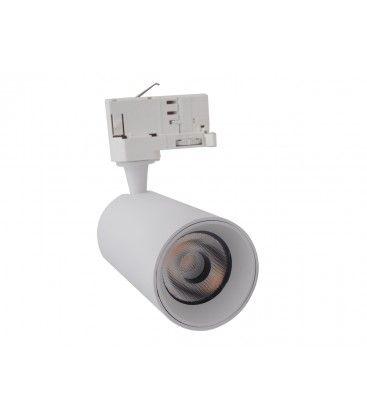 Image of   LEDlife hvidt skinnespot 10W - Flot design, flicker free, RA90, 3000K, Kulør: Varm, Spredning: 38°, Farve på hus: Hvid