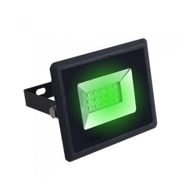 Image of   V-Tac 10W LED projektør - Arbejdslampe, grøn, udendørs - Dæmpbar : Ikke dæmpbar, Kulør : Grøn, Farve på hus : Sort