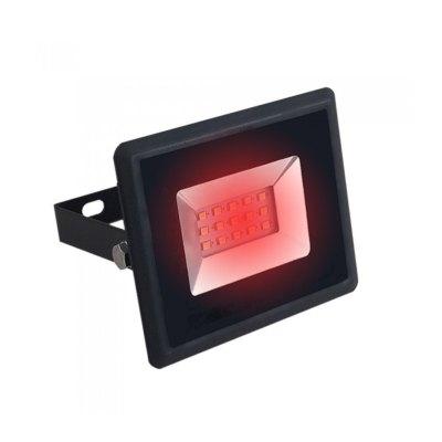 Image of   V-Tac 10W LED projektør - Arbejdslampe, rød, udendørs - Dæmpbar : Ikke dæmpbar, Kulør : Rød, Farve på hus : Sort