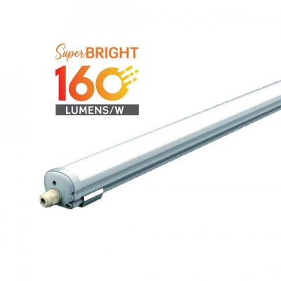 Image of   V-Tac vandtæt 32W komplet LED armatur - 150 cm, 160 lm/W, IP65, 230V - Kulør : Kold, Dæmpbar : Ikke dæmpbar