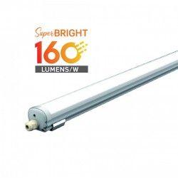 Med LED - Lysstofrør armatur V-Tac vandtæt 32W komplet LED armatur - 150 cm, 160 lm/W, IP65, 230V