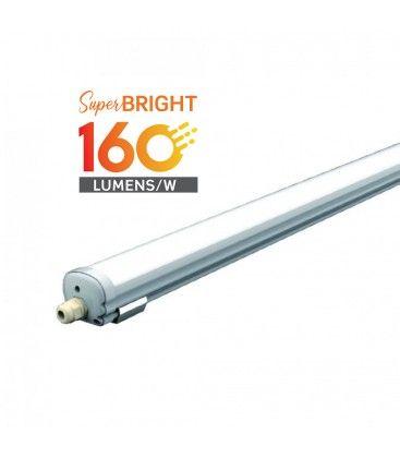 V-Tac vandtæt 32W komplet LED armatur - 150 cm, 160 lm/W, IP65, 230V