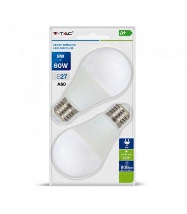 V-Tac 9W LED pære - 3-trin dæmpbar, A60, on/off dæmpbar, E27