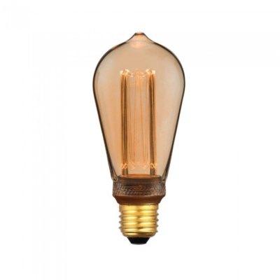 Billede af V-Tac 4W LED pære - Kultråd, røget glas, ekstra varm hvid, 1800K, ST64, E27 - Dæmpbar : Ikke dæmpbar, Kulør : Ekstra varm