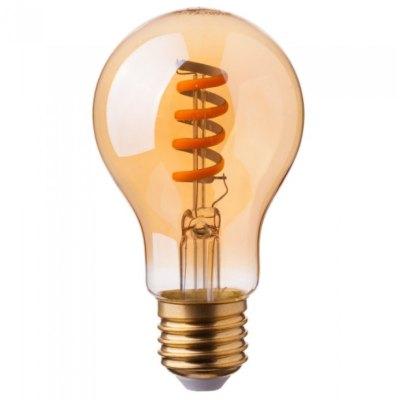 Billede af V-Tac 4W LED pære - Spiral kultråd, røget glas, ekstra varm hvid, 2200K, A60, E27 - Dæmpbar : Ikke dæmpbar, Kulør : Ekstra varm