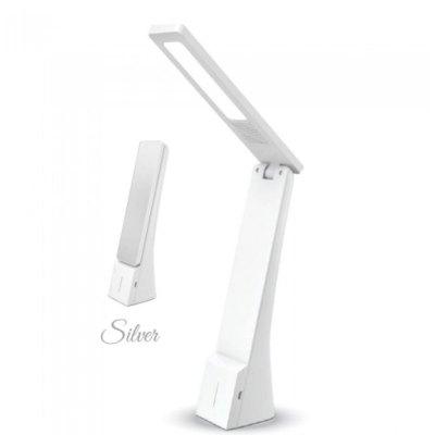 V-Tac 4W bordlampe hvid/sølv - Touch dæmpbar, genopladelig - Dæmpbar : Dæmpbar
