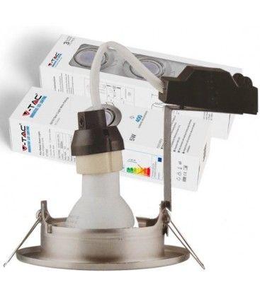 V-Tac 3-pak Indbygningsspot med 5W lyskilde - Stål front, komplet med GU10 holder og LED spot