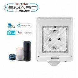 Smart Home pærer V-Tac Smart Home vandtæt Wifi stikkontakt - Virker med Google Home, Alexa og smartphones, 230V