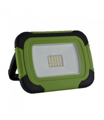 V-Tac LED projektør 10W - 12V/230V, transportabel, genopladelig, arbejdslampe, udendørs