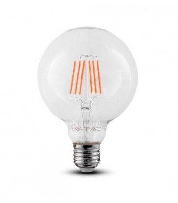 V-Tac 6W LED globepære - Samsung LED chip, Kultråd, Ø12,5 cm, E27