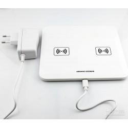 Trådløs Qi mobil oplader dobbel, Hvid