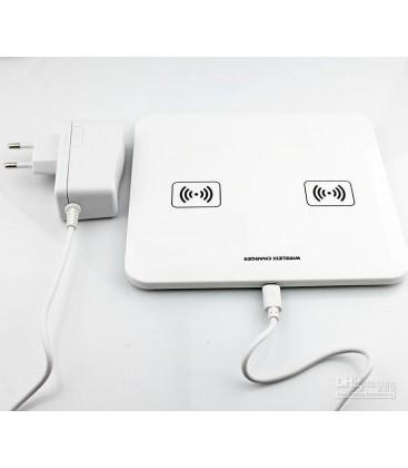 Trådløs mobil oplader dobbel, Hvid