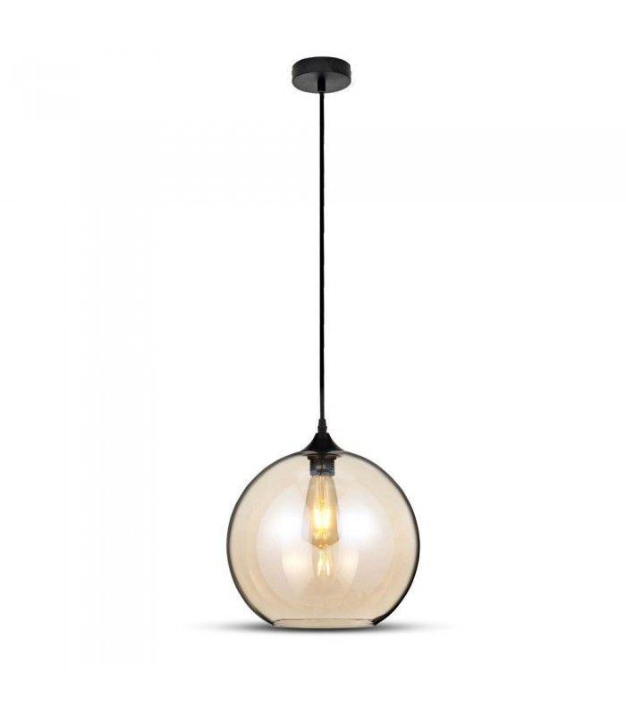 V Tac kugleformet glas pendel lampe Rav farvet, Ø30cm, E27