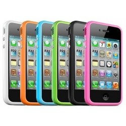iphone4.bumper.TPU: Iphone 4/4S Silikone bumper / cover, Metal knapper, flere farver