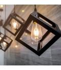 V-Tac geometrisk pendel lampe - Sort farve, kvadrat, E27
