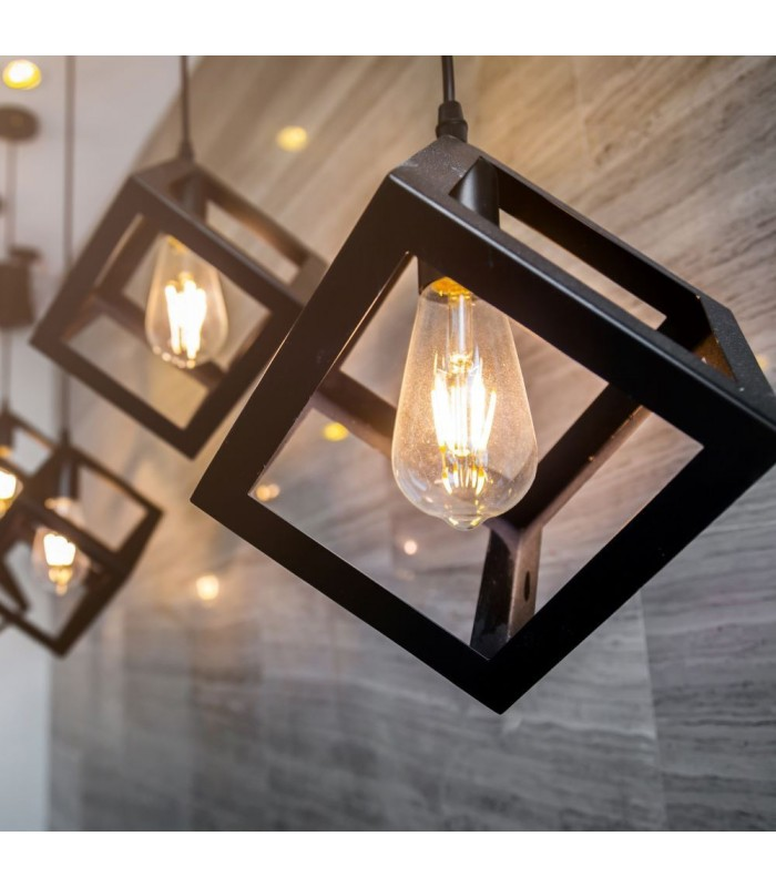 V Tac geometrisk pendel lampe Sort farve, kvadrat, E27