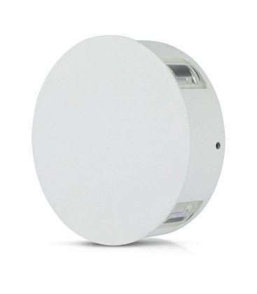 V-Tac 4W LED hvid væglampe - Rund, IP65 udendørs, 230V, inkl. lyskilde