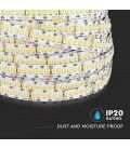 V-Tac 18W/m LED strip RA 95 - Samsung LED chips, 10m, 24V, IP20, 240 LED pr. meter,