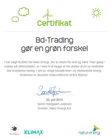 BD Trading støtter klimavenlig energi