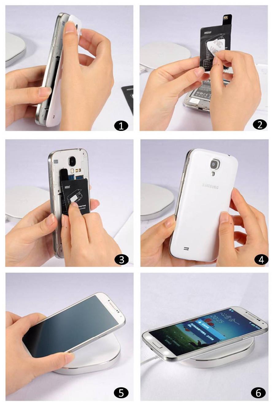 Montering af trådløs opladning modtager i Samsung S4